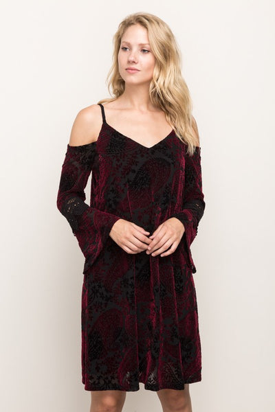 MYSTREE - VELVET BELL SLEEVE DRESS