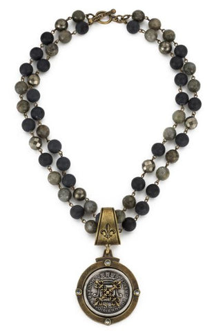 French Kande DOUBLE STRAND MIDNIGHT MIX WITH BRASS WIRE AND CENTENNIAL X STACK MEDALLION