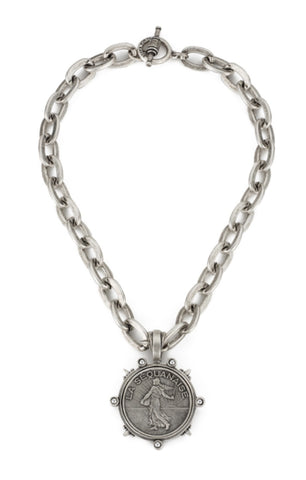 French Kande LOURDES CHAIN WITH LIBERTY MEDALLION