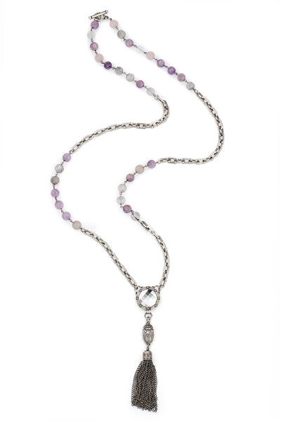 French Kande Lavender mix Honfleur chain with Swarovski Crystal and Tassle