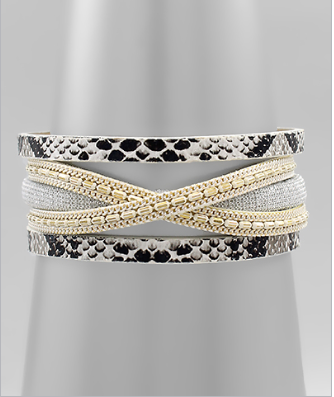 Golden Stella Snake Skin Leather Bracelet