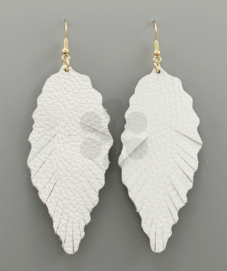 Stella Leather Leaf Earrings