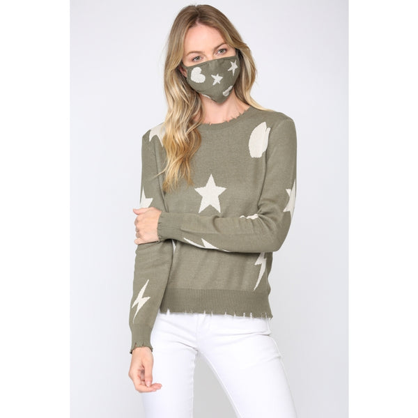 Fate Distressed Sweater and matching mask