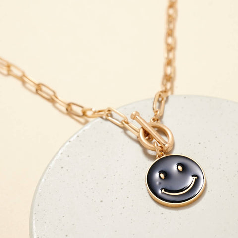 Avenue Zoe - Smiley Face Charm Chain Link Necklace