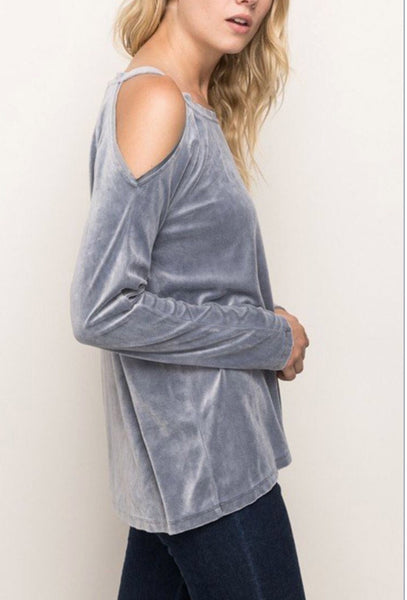 Mystree Velvet Cold Shoulder Top