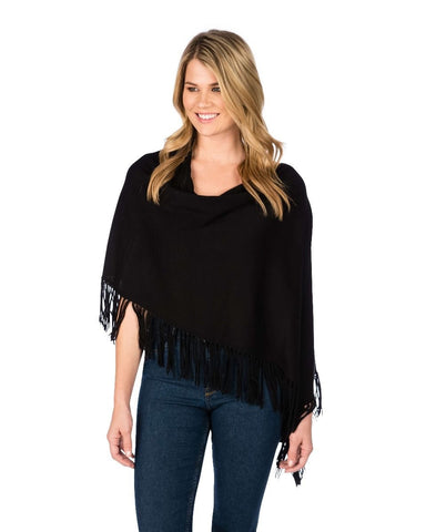Trade Wind Cotton Cashmere Topper W/ Fringe