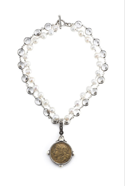 French Kande DOUBLE STRAND PEARLS WITH SILVER WIRE, SWAROVSKI RIVOLI AND DUPUIS MEDALLION
