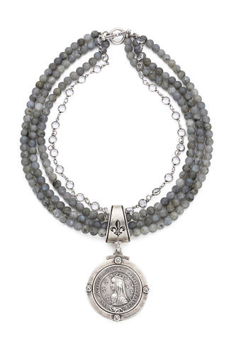 French Kande TRIPLE STRAND SANDBLAST LABRADORITE WITH SWAROVSKI AND BAYONNE MEDALLION