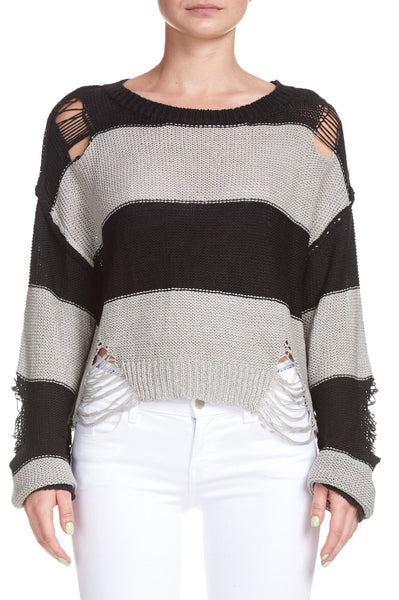 Elan Distressed Stripe Sweater