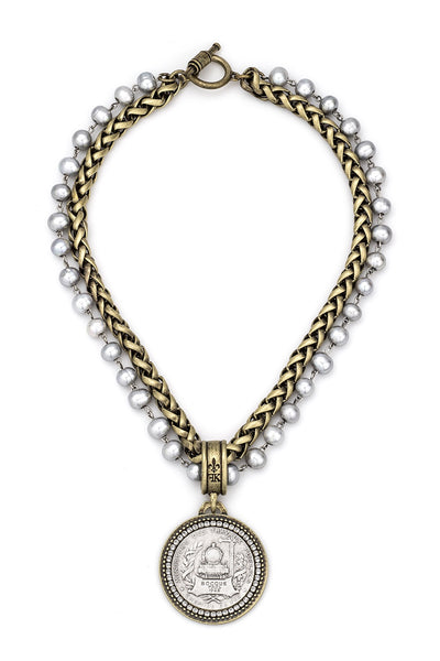 French Kande DOUBLE STRANDED PEARLS AND CHEVAL CHAIN WITH BOCQUE MEDALLION