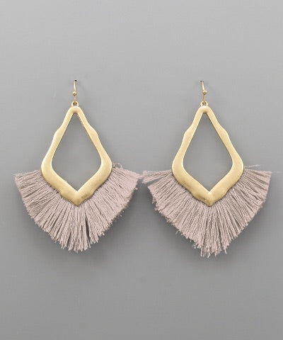 Stella Rhombus Fan Tassel Earrings