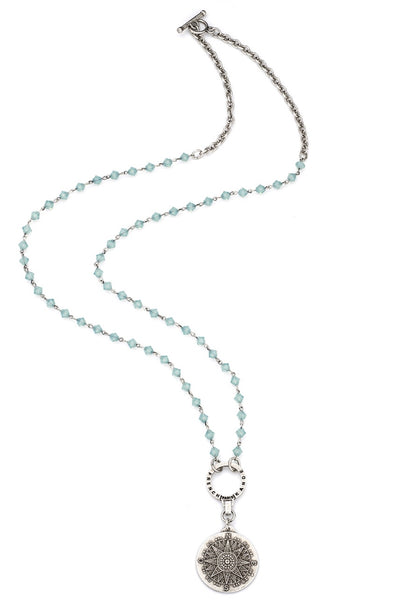 French Kande PACIFIC OPAL SWAROVSKI WITH SILVER WIRE, CHAIN AND SOPAD MEDALLION