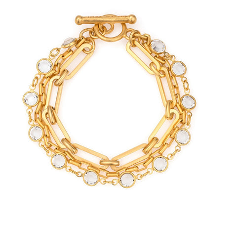 French Kande Triple Strand Versailles and Loire Chain Bracelet