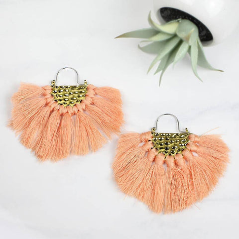 Funky Monkey Goldtone & Coral Fringe Drop Earrings