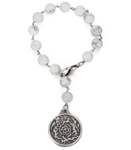 French Kande SANDBLAST HOWLITE WITH SILVER WIRE AND D'ENGINS MEDALLION