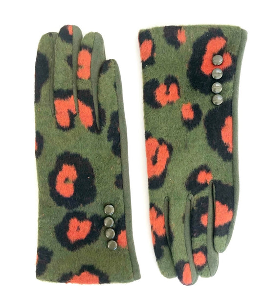 CRC Redefined Olive and Orange Leopard Print Touchscreen Gloves