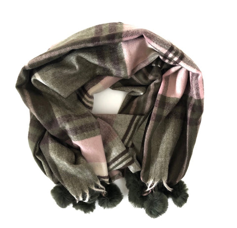 CRC Redefined Olive Green and Pink Winter Plaid Scarf with  Poms