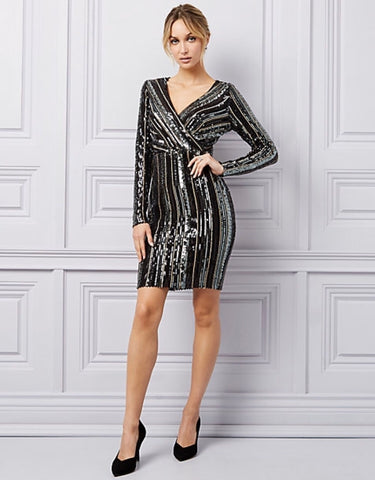 Le Chateau Sequin & Mesh V-Neck Dress