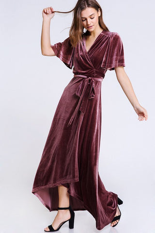 In Loom Velvet Wrap Dress