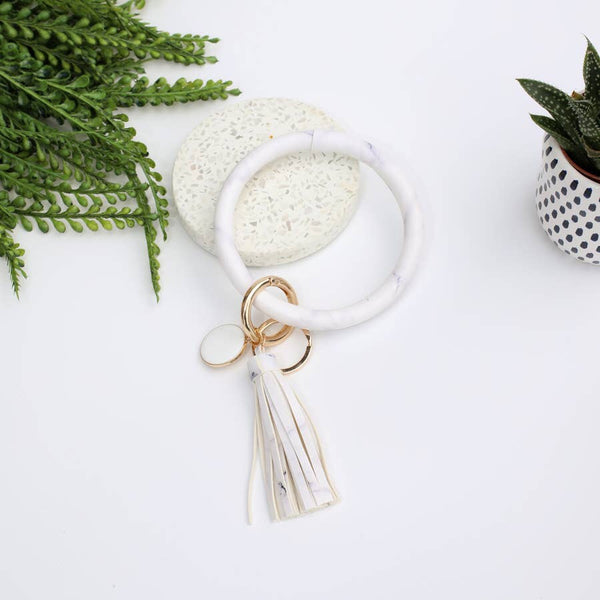Funky Monkey Key Ring Bracelet Collection - White w/ Purple Marble