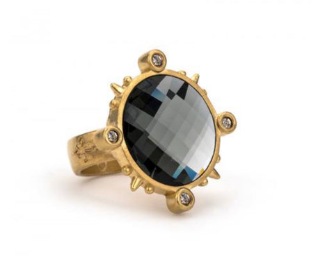 French Kande-GOLD SPIKED RING WITH BLACK DIAMOND SWAROVSKI