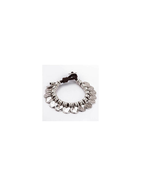 Trades By Haim Shahar- Modern Coin Leather Bracelet With Clasp