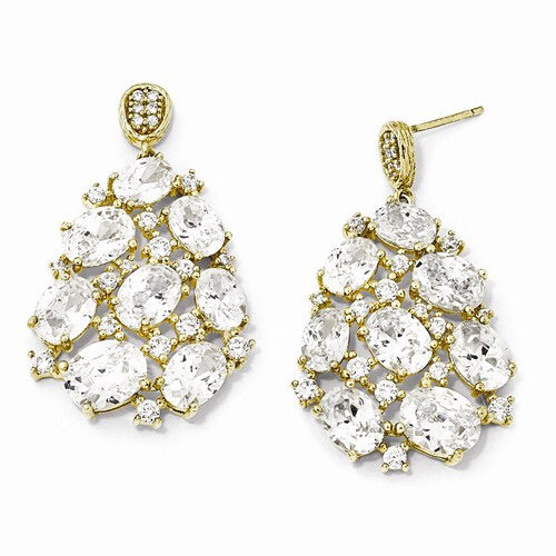 Cheryl M Sterling Silver Gold-Plated CZ Dangle Post Earrings