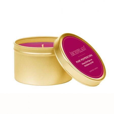 Archipelago Pink Peppercorn Gold Tin Candle