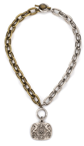 French Kande-MIXED METAL LOURDES CHAIN WITH MOILLARD MEDALLION