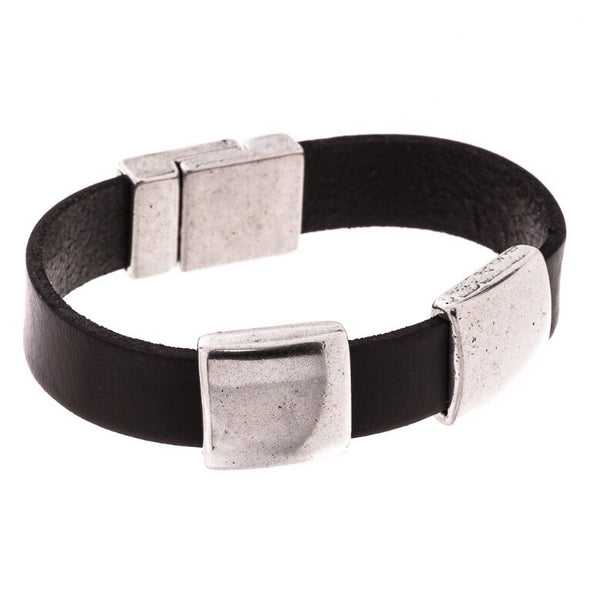 Trades by Haim Shahar - leather bracelet with sterling silver accents