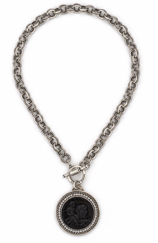 French Kande PROVENCE CHAIN WITH BLACK ST. CHRISTOPHER MODERN MEDALLION AND SWAROVSKI
