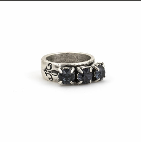 FRENCH KANDE GRAPHITE TRIPLE SWAROVSKI RING