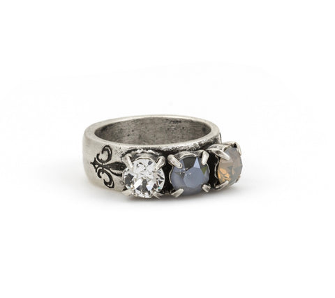 French Kande GRIS CLAIR TRIPLE SWAROVSKI RING