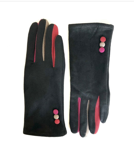 CRC Redefined Black Suede Gloves with three colored buttons with matching color pop fingers