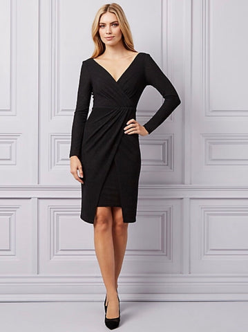 Le Chateau Sparkle Knit Wrap-Like Dress