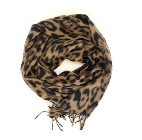 CRC Redefined Carmel Brushed Leopard Cashmere feel Winter Scarf