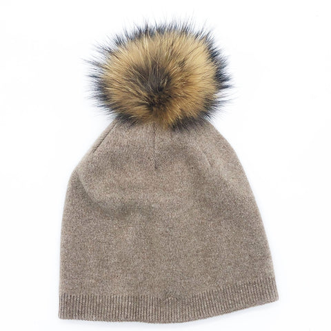 CRC Wholesale Redefined- Beige Cashmere Beanie With Snap On Fur Pom Pom