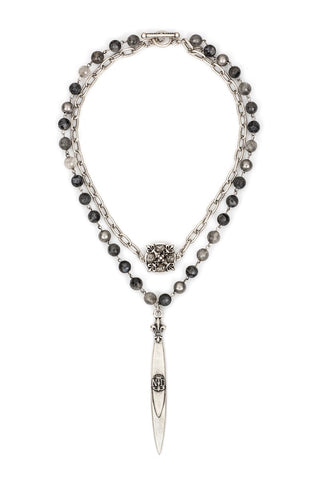French Kande DOUBLE STRAND SLATE MIX WITH SILVER WIRE, CHAIN, X MEDALLION AND POINTU PENDANT