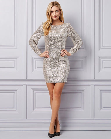 Le Chateau Sequin Scoop Neck Tunic Dress