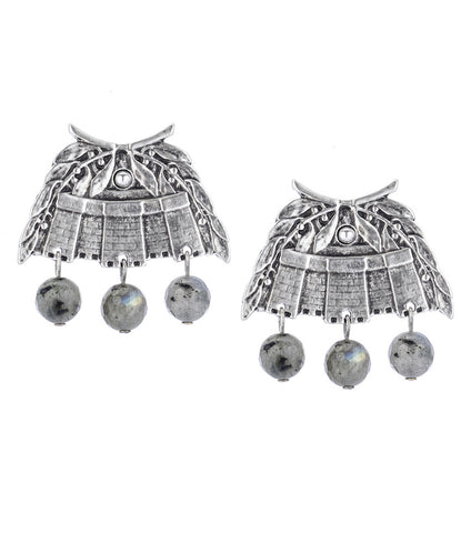 French Kande SILVER CHATEAU EARRINGS WITH LABRADORITE DANGLES