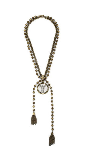French Kande- Golden with Double Cable Chain, with Civilization Medallion and Tassels