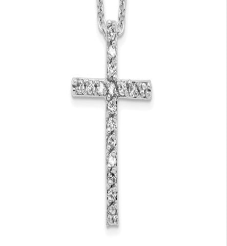 Cheryl M Sterling Silver Rhodium Plated CZ Cross 18in Necklace