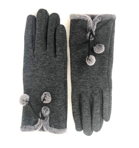 CRC Redefined Charcoal Pom Pom Touch Screen Stretch Glove with Grey fur trim