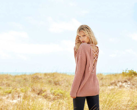 Elan Back Lace Up Sweater in Mauve SW1691-MAUVE
