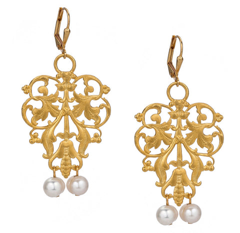 French Kande French Filigree Earrings with Pearl Dangles