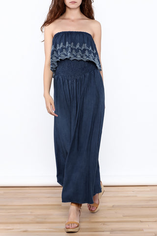 Elan Strapless Eyelet Embroidered Maxi Dress