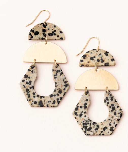 Scout Stone Cutout Earring-Dalmatian Jasper and Gold