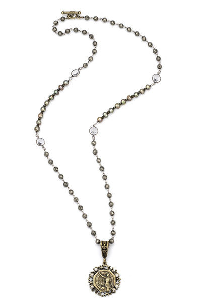 French Kande PYRITE WITH SILVER WIRE, SWAROVSKI, CHARTREUSE PEARLS AND LACE MEDALLION