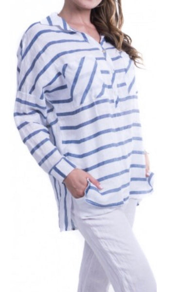 Gigi Moda Striped Linen Button Down Tunic