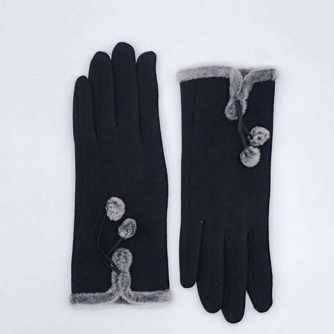 CRC Wholesale Redefined- Touchscreen Gloves With Fur Trim And Pom Poms